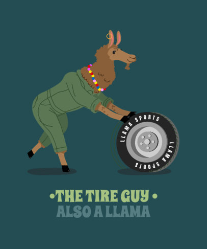 T-Shirt Design Creator with an Automotive-Themed Graphic of a Llama 3720b