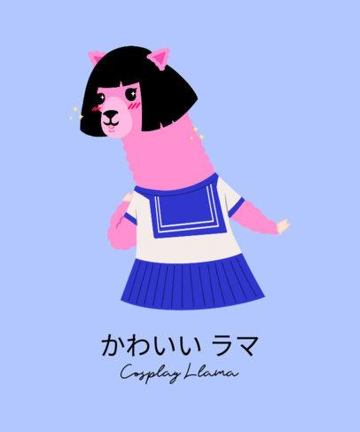 T-Shirt Design Maker Featuring a Kawaii Anime Llama 3720a