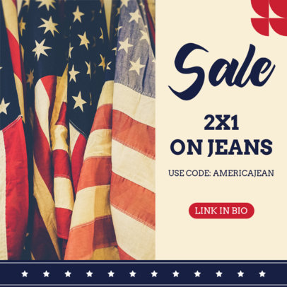 Instagram Post Template for a Clothing Brand Sale on the 4th of July 3998d-el1