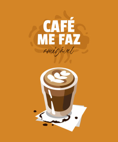 Coffee-Themed T-Shirt Design Maker with a Portuguese Quote 4006a-el1