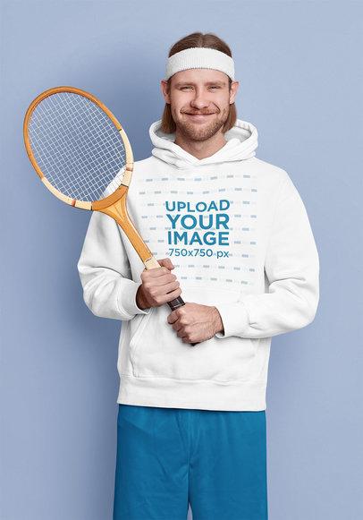 Hoodie Mockup of a Man Posing With a Vintage Tennis Racket m3731-r-el2
