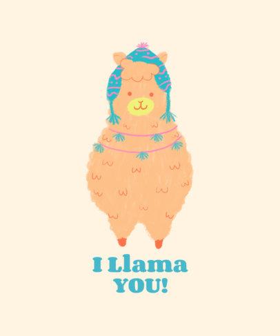 Cute T-Shirt Design Generator Featuring a Sweet Llama Clipart 3719e