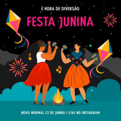 Festive Instagram Post Maker Featuring Festa de São João Illustrations 3713h