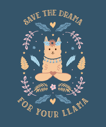 Quote T-Shirt Design Maker Featuring an Adorable Llama Clipart 3716a