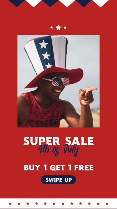 Instagram Story Generator for a 4th of July Super Sale Announcement 3992c-el1
