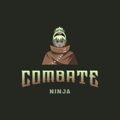 Naruto-Inspired Gaming Logo Template with a Ninja Character 4373b