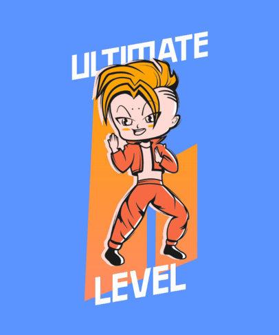 T-Shirt Design Template Featuring a Cartoon Inspired by Dragon Ball 4385A