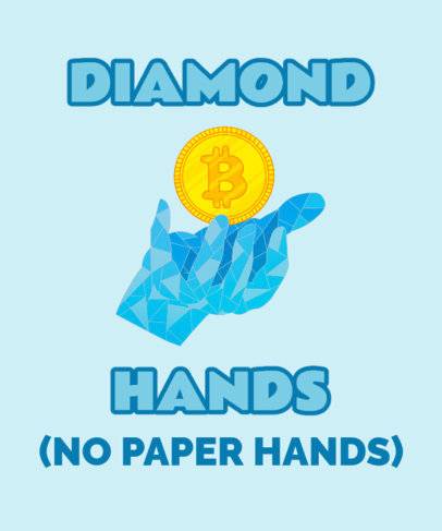 Cryptocurrency-Themed T-Shirt Design Template Featuring a Diamond Hand Graphic 3737d
