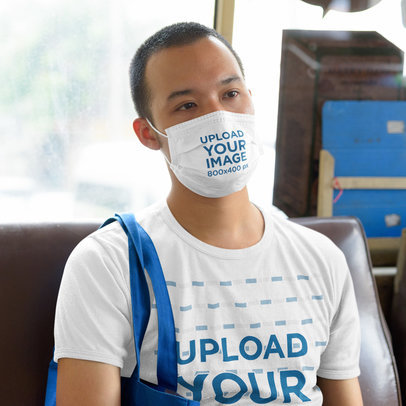 Face Mask Mockup Featuring a Man Wearing a Customizable Tee 42829-r-el2