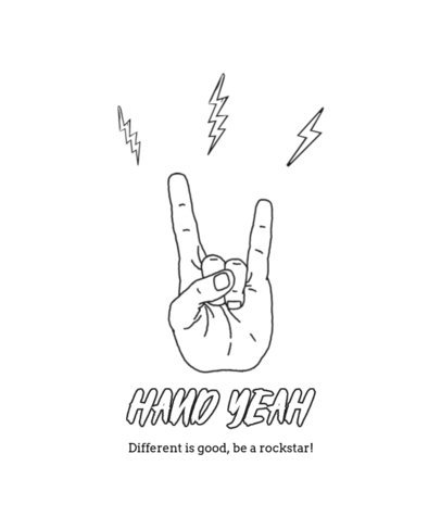 T-Shirt Design Template with Illustrated Hand Gestures 4017
