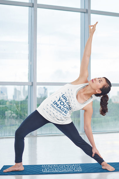 Yoga Mat Mockup of a Woman in a Tank Top Doing a Stretching Pose m8482-r-el2