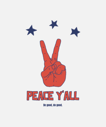 T-Shirt Design Template with an Illustrated Peace Hand Sign 4017d