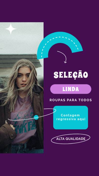 Instagram Story Design Creator with Portuguese Text and a Retro Style 4037f-el1