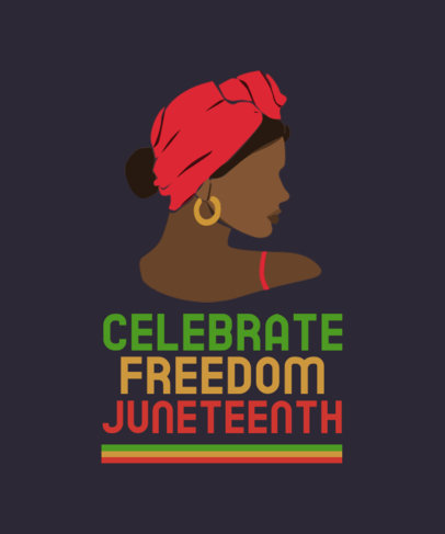 T-Shirt Design Template to Celebrate Juneteenth Featuring a Woman Illustration 3773a