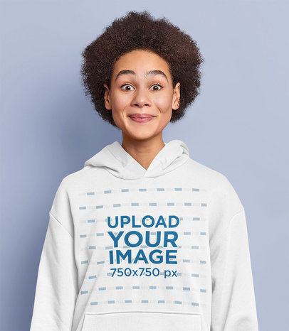 Hoodie Mockup Featuring a Silly Woman in a Studio m3609-r-el2