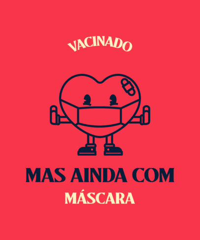 COVID Vaccine-Themed T-Shirt Design Maker with a Portuguese Quote and a Cartoon 3740d
