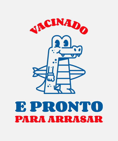 COVID-Themed T-Shirt Design Maker with a Crocodile Cartoon 3740g