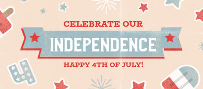 Facebook Cover Template Featuring 4th of July Themed Graphics 3754b