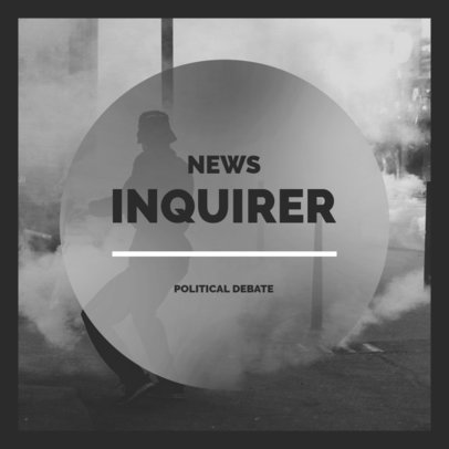Political Podcast Cover Maker With a Monochromatic Style 4396m