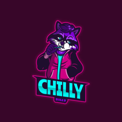 Furry-Themed eSports Logo Template featuring a Raccoon Character 4388b