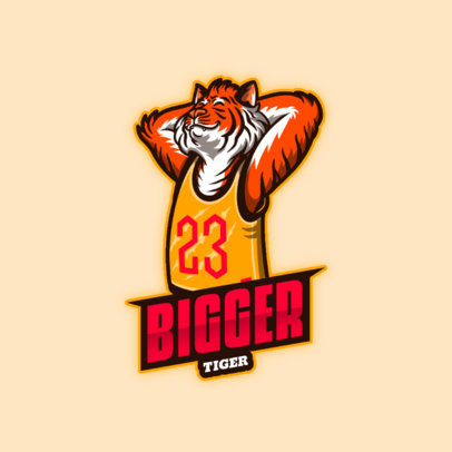 Furry-Themed Logo Template with a Tiger Mascot for Basketball Gamers 4388e
