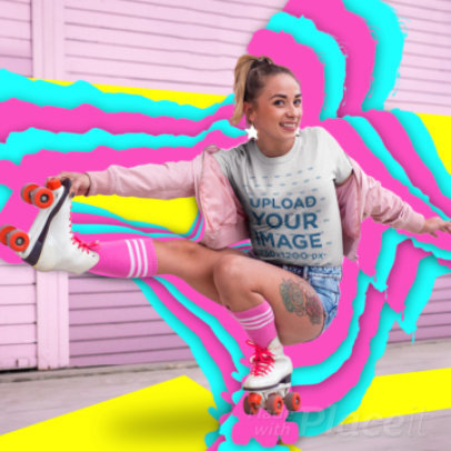 T-Shirt Video Maker Featuring a Happy Woman With Roller Skates 3297v