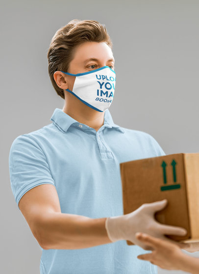 Face Mask Mockup of a Man With Plastic Gloves Delivering a Package 44080-r-el2
