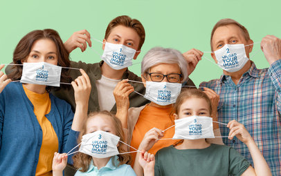 Mockup of a Happy Family Playfully Wearing Face Masks 44267-r-el2