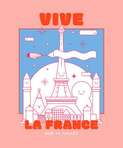 Illustrated T-Shirt Design Maker for Bastille Day 3769