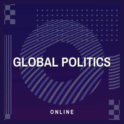 Podcast Cover Generator for a Global Politics Show Featuring Abstract Graphics 4398a