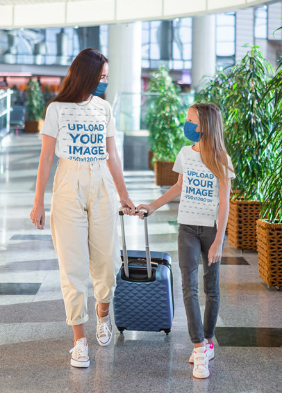 T-Shirt Mockup Featuring a Mother and Her Daughter at the Airport 45192-r-el2