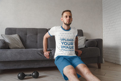 Ringer Tee Mockup of a Man Working Out at Home 41010-r-el2