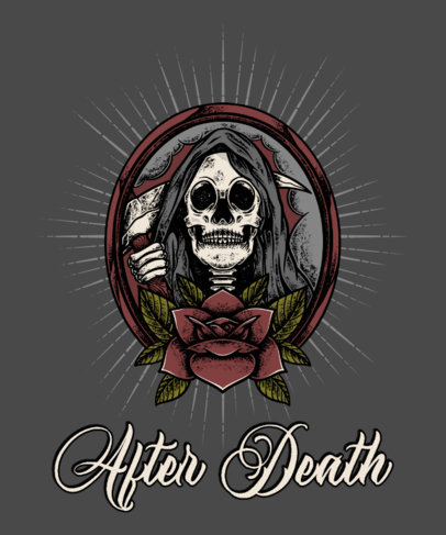 T-Shirt Design Template Featuring an Illustration of the Grim Reaper 4055-el1