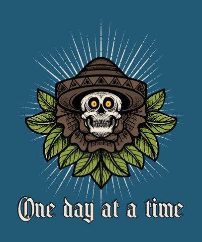 T-Shirt Design Template Featuring a Skull with a Mexican Sombrero 4055c-el1