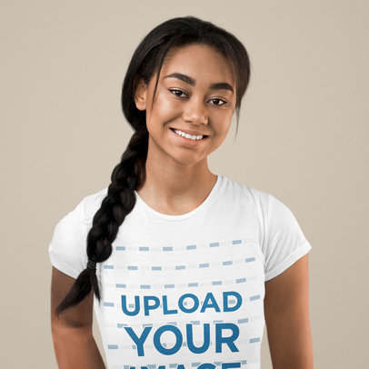 T-Shirt Mockup of a Happy Woman With a Braided Hairstyle 40395-r-el2