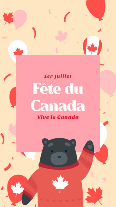 Canada Day-Themed Instagram Story Template Featuring a Cute Bear Illustration 3778a