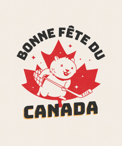 T-Shirt Design Maker for Canada Day Featuring a Hockey Beaver 3775c