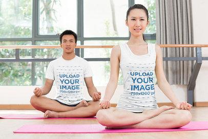 Tank Top and T-Shirt Mockup of a Man and a Woman at a Yoga Class 46770-r-el2