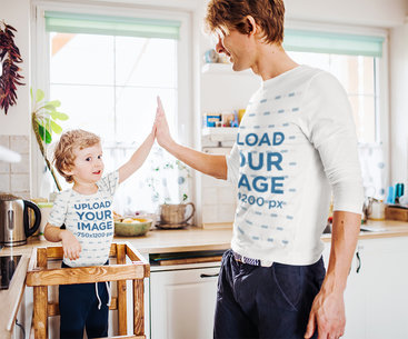 Long Sleeve Tee and Onesie Mockup of a Father and Son Giving Each Other a High-Five 41853-r-el2