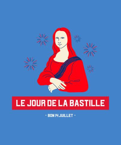 T-Shirt Design Generator for Bastille Day with a Graphic of La Gioconda 3770c