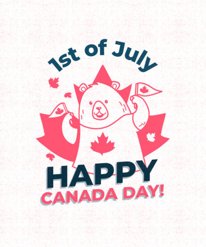 T-Shirt Design Generator for Canada Day Featuring a Happy Bear with Maple Leaves 3775h