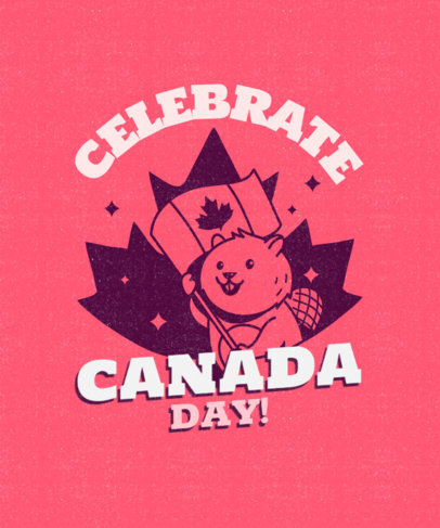 T-Shirt Design Template Featuring a Smiling Beaver Celebrating Canada Day 3775d