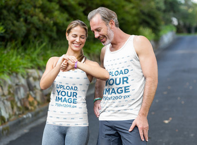 Tank Top Mockup of a Man and a Woman Checking Their Running Time 44974-r-el2
