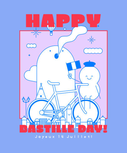 T-Shirt Design Creator Featuring Smiling Illustrations for a Happy Bastille Day 3769d