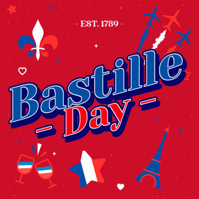 Festive Instagram Post Creator for Bastille Day 3771c