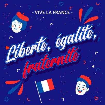 Festive Instagram Post Maker for the National Day of France 3771e