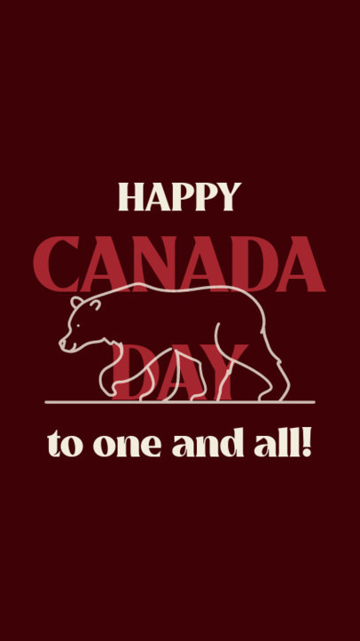 Instagram Story Generator for Canada Day Featuring Bear Clipart 3779e