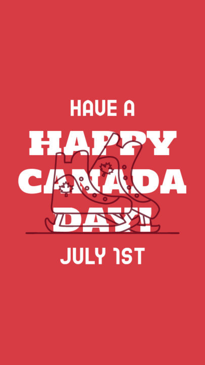 Canada Day-Themed Instagram Story Generator Featuring Single Line Graphics 3779h