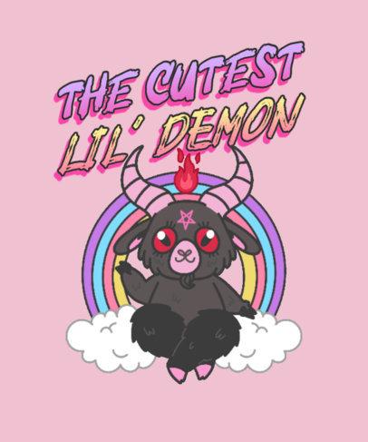 Quote T-Shirt Design Generator Featuring a Cute Illustration of Satan 3760b