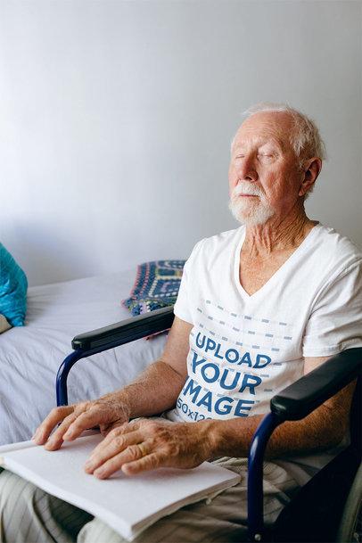 V-Neck Tee Mockup Featuring a Senior Man Reading Braille 40911-r-el2